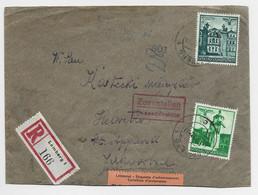 GENERAL GOUVERNEMENT 10C +1 ZLOTY LETTRE COVER REC LEMBERG 1942 TO HELVETIA ETIQUETTE ACHEMINEMENT  + CENSURE NAZI - Generalregierung