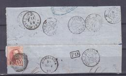 Belgique - Devant De Lettre De 1860 - Oblit St Ghislain -voir Différents Cachets ! - Valeur Oblit = 150 € - Lettre 225 € - 1858-1862 Medaillen (9/12)
