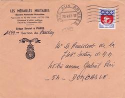 25423# ARMOIRIE PARIS LETTRE LES MEDAILLES MILITAIRES Obl POSTE AUX ARMEES 1967 DOMBASLE MEURTHE - Sellos Militares Desde 1900 (fuera De La Guerra)