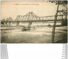 VIET NAM. Hanoï. Le Pont Doumer Sur Le Fleuve Rouge Transport En Charrette - Vietnam