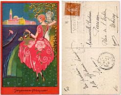 Art Déco - Femm Et Panier D' Oeufs  - Joyeuses Paques    (8024 ASO) - 1900-1949