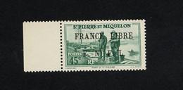 """SPM - TIMBRE BORD DE FEUILLE  N° 256 DE 1941/1942 """" PORT DE DAINT-PIERRE """" SURCHARGE FRANCE LIBRE F.N.F.L   - ETAT** - Ungebraucht"""