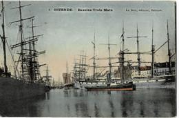 Ostende Bassin Trois Mats Circulée En 1906 - Oostende