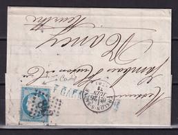 D221 / LOT CERES N° 60 SUR LETTRE / VARIETE FILET HAUT - 1871-1875 Cérès