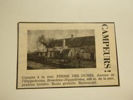 """Origineel Knipsel ( E 985 ) Uit Tijdschrift """" Touring Club De Belgique """" 1937 : Ferme Des Dunes  Bredene - Unclassified"""