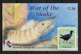 NORFOLK ISLAND * 2001 * S/Sheet * CTO * MNH** Birds - Chinese New Year Of Snake  - Mi.No BL38 - Norfolk Island