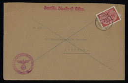 TREASURE HUNT [00002] Generalgouvernement 1941 Official Cover From Krakow To Dresden With 24 Gr Red-brown Official Stamp - Gouvernement Général