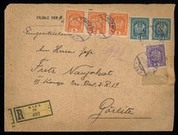 TREASURE HUNT [00019] Austria 1918 Reg. Cover To Germany With 6h Orange + 12h Blue-green + 3h Violet Definitive Stamps - Lettres & Documents