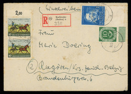 TREASURE HUNT [00035] West Germany 1953 Reg. Cover Bearing 10 Pf Green Posthorn With Sheet Margin + Others - Lettres & Documents