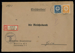 TREASURE HUNT [00044] Germany 1940 Reg. Off. Cover From Berlin To Gera With 4 Pf Blue+50 Pf Orange Swastika Officials - Lettres & Documents