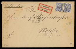 TREASURE HUNT [00063] Germany 1882 Reg. Cover From Lommatzsch To Weiler Bearing Pair Of 20 Pf Blue Stamps - Brieven En Documenten
