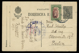 TREASURE HUNT [00096] Bulgaria 1917 5s Black Post Card Sent From Kniajevo - Sofia To Berlin, Up-rated With 5s Stamp - Lettres & Documents