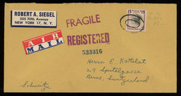 TREASURE HUNT [00099] US 1953 Reg. Air Mail Cover To Switzerland Bearing Wilson $1 Stamp, Mute Cancelation - Covers & Documents