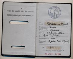 """Timbres Fiscaux Type Daussy """"Affaires Etrangères"""" Sur Passeport Français établi à Khouribga (Maroc) - Mars 1961 - Revenue Stamps"""