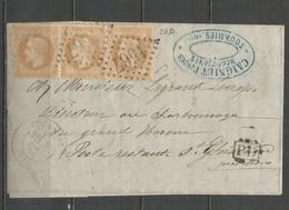 """France - Nord - Obl.GC - Lettre De FOURMIES Vers St.Ghislain (Belgique) + """"PD"""" Encadré En Noir - N°28B Bande De Trois - 1849-1876: Klassik"""