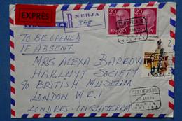 #14  FRANCE   BELLE  LETTRE RECOM.  1976  MALAGA POUR LONDON G.B  + PAIRE DE T. P+ AFFRANCHISSEMENT. INTERESSANT - 1971-80 Briefe U. Dokumente