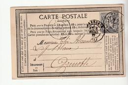 Carte Précurseur Publicité  Mines Et Fonderies De Zinc De La Vieille Montagne + Timbre Fiscal Avec Type Sage 15c, 1877 - 1876-1898 Sage (Tipo II)