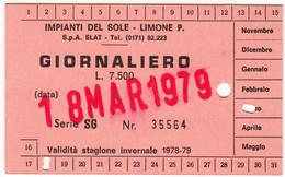 SKIPASS TESSERA GIORNALIERA IMPIANTI DEL SOLE LIMONE PIEMONTE 1979 - Toegangskaarten