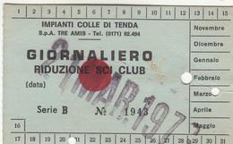 SKIPASS TESSERA GIORNALIERA IMPIANTI DEL SOLE LIMONE PIEMONTE 1978 - Toegangskaarten