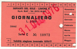 SKIPASS TESSERA GIORNALIERA IMPIANTI DEL SOLE LIMONE PIEMONTE 1976 - Toegangskaarten