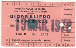 SKIPASS TESSERA GIORNALIERA IMPIANTI DEL SOLE LIMONE PIEMONTE 1978 - Eintrittskarten