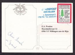 Netherlands: Picture Postcard, 1 Cinderella Stamp, Private Postal Service Stadsposten Noord-Holland, Tree (minor Damage) - Storia Postale