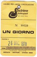 SCI SKI SKIPASS SESTRIERES TUTTIMPIANTI 1978 - Eintrittskarten