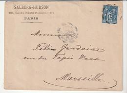 """Lettre Avec Type Sage N°15c Et Cachet Essai """"Paris - Place De La Bourse, 1881"""" Cercle Interrompu En Dents De Scie - 1876-1898 Sage (Type II)"""