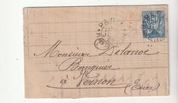 """Lettre Avec Type Sage N°15c Et Cachet Essai """"PARIS - Place De La Bourse, 1880"""" - 1876-1898 Sage (Type II)"""