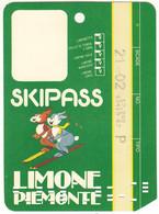 SKIPASS ABBONAMENTO GIORNALIERO LIMONE PIEMONTE 1987 - Eintrittskarten