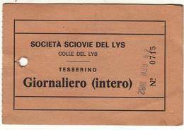 SKIPASS ABBONAMENTO GIORNALIERO SCIOVIE DEL LYS 1982 - Eintrittskarten