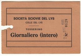 SKIPASS ABBONAMENTO GIORNALIERO SCIOVIE DEL LYS 1981 - Eintrittskarten