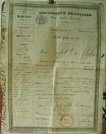 XIX ° PASSEPORT INTERIEUR  1849 VALABLE UN AN REPUBLIQUE FRANCAISE Délivré à Mlle SAMPITTE De PARIS à AGEN . FILIGRANE - Documents Historiques