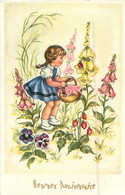 Carte   Illustration  -  Enfants ,  Fleurs , Heureux Anniversaire      C113  Photochrom  829 - Portretten