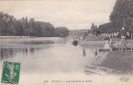 77. HERICY. CPA.  LES BORDS DE LA SEINE. ANIMATION. ANNEE 1908 + TEXTE - Otros Municipios