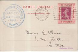 """FRANCE : CP . AVEC PORTE TIMBRE IMPRIME . """" BOURSE DES NEGOCIANTS """" . TYPE SEMEUSE . 1935 . - Pubblicitari"""