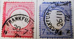 ALLEMAGNE Empire _ 1871 _ Y&T N°9 _ 3 Kr. Rose + N°10 Abimé_ 7 Kr Bleu - (Aigle En Relief - Petit écusson) /0/ - Oblitérés