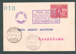23.2.1930 Uruguay Postmark Talking Parlante INAUG. FERRROCARRIL IN PUNTA DEL ESTE Train Chemin De Fer - Circulated Card - Uruguay