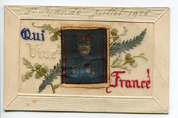 """MILITARIA  Rare CARTE BRODEE  Portrait Maréchal JOFFRE  """" Qui Vive France """" écrite Juillet 1916    D03 2019 - Weltkrieg 1914-18"""