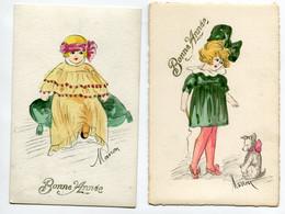 """ILLUSTRATEUR MANON 2 Cartes """"faites Main"""" Aquarelle Jeunes Fillettes élégantes Mode """" Bonne Année """"    D04 2019 - Other Illustrators"""
