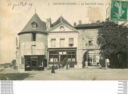 PHL 58 CHATEAU-CHINON. La Tour Avec Charcuterie Bondux Et Le Tabac 1909 - Chateau Chinon