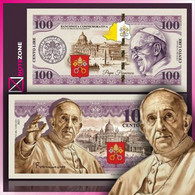 100 Cento Lire Vatican Pope Francis POLYMER With Spot UV Test Fantasy Banknote - Vatican