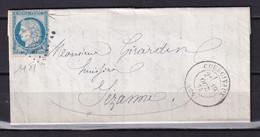 D221 / LOT CERES N° 60 SUR LETTRE / VARIETE TRAIT HAUT DU TIMBRE - 1871-1875 Cérès