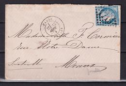 D221 / LOT CERES N° 60 SUR LETTRE / VARIETE FILET  BAS - 1871-1875 Cérès