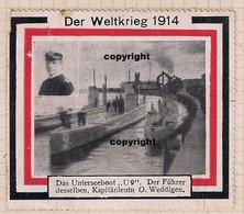Germany/Austria/Hungary German Poster Stamp Cinderella  Der Weltkrieg 1914 U-boat Submarine Weddingten Extra Rare - Erinnophilie