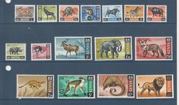 1966 Kenya Animals Definitive Complete Set Of 16 Lion Cheetah Elephant Wild Animals MNH - Kenya (1963-...)
