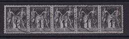 D222 / LOT SAGE N° 83 BANDE DE 5 OBL COTE 9€ - 1876-1898 Sage (Type II)