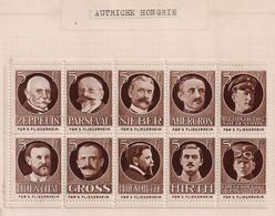 Germany/Austria/Hungary Cinderella Österreich WWI Fliegerheim War Fund - 1 Block 10 Stamps Extra Rare In Block - Erinnophilie