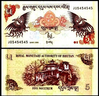 BHUTAN 5 Ngultrum, 2006, P-28, Mythical Bird/Monastery, UNC World Currency - Bhutan