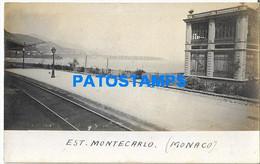 168352 MONACO MONTE CARLO STATION TRAIN POSTAL POSTCARD - Unclassified